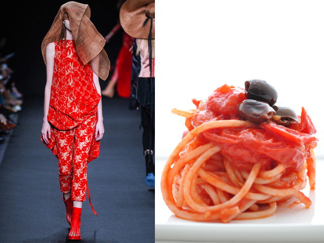 Ann Demeleumeester-Rice spaghetti with tomato sauce and Taggiasche olives