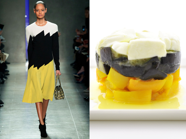 Bottega Veneta - Yellow pepper, eggplant and buffalo mozzarella tartar