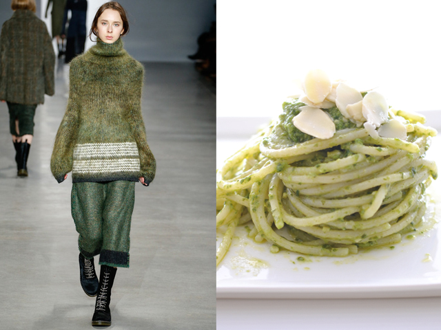 Calvin Klein-Rice spaghetti with basil and almond pesto