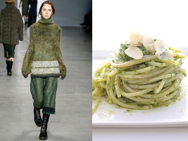 Calvin Klein-Rice spaghetti with basil and almond pesto