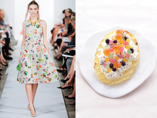 Oscar de la Renta-San Carlo Rustica® chips with fresh cheese, salmon caviar and fruit pearls