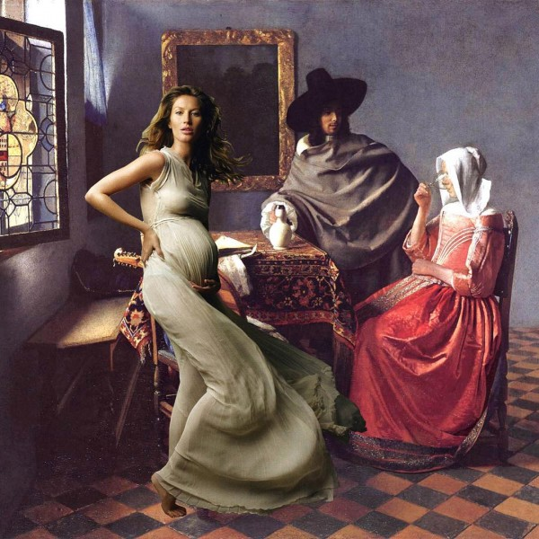 """""""No, Thank You, I Can't Drink Wine, I'm Pregnant"""" painting: The Glass oggi Wine by Vermeer"""