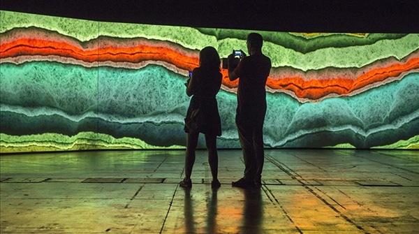 BARCELONA 15 06 2016 SONAR Presentacion del Sonar Planta Instalacion de arte new media Earthworks del duo de artistas britanicos Joe Gerhardt y Ruth Jarman FOTO FERRAN SENDRA