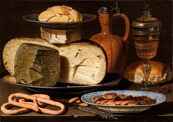 Clara Peeters, Stilleven met kazen, brood en drinkgerei, c.1615 Paneel, 34,5 x 49 cm